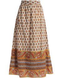 Antik Batik - Soleil Printed Cotton Midi Skirt - Lyst