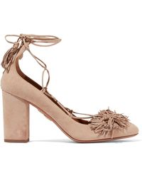 Aquazzura - Wild Thing Lace-up Fringed Suede Pumps - Lyst