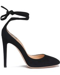 Gianvito Rossi - Carla Lace-up Suede Pumps - Lyst