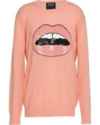 Markus Lupfer - Woman Embellished Merino Wool Sweater Peach - Lyst