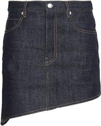 Helmut Lang - Woman Asymmetric Denim Mini Skirt Dark Denim - Lyst