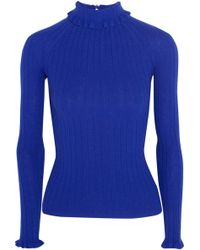 Erdem - Atena Ribbed Merino Wool Jumper Royal Blue - Lyst