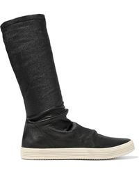 Rick Owens - Mastodon Textured Stretch-leather Sock Boots - Lyst