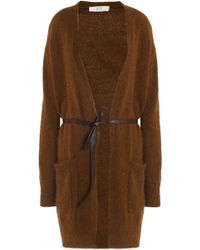 Vanessa Bruno Athé - Woman Helora Belted Knitted Cardigan Brown - Lyst