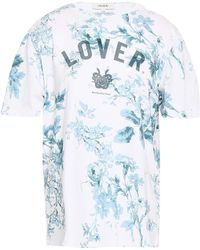 Lover - Woman Printed Cotton-jersey T-shirt White - Lyst