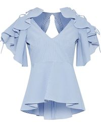 Marissa Webb - Abileen Lace-up Ruffled Striped Seersucker Blouse - Lyst