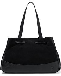 Halston - Suede And Textured-leather Tote - Lyst