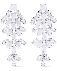 CZ by Kenneth Jay Lane - Woman Silver-tone, Crystal And Stone Earrings Silver - Lyst