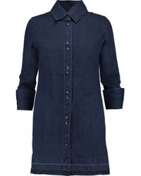 J Brand - Bacall Denim Mini Shirt Dress Dark Denim Size L - Lyst