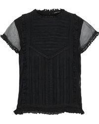 Love Sam - Sada Panelled Lace And Tulle Top - Lyst