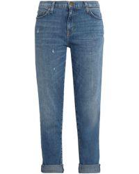 Current/Elliott - Distressed Mid-rise Slim-leg Jeans - Lyst