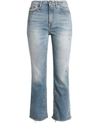R13 - Shiloh Cropped Distressed Mid-rise Bootcut Jeans - Lyst