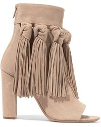 Chloé - Tasselled Suede Ankle Boots - Lyst
