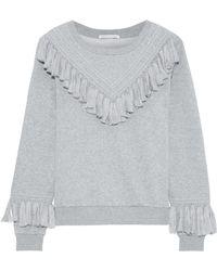 Rebecca Minkoff - Woman Tasselled Cotton-blend Fleece Sweatshirt Grey - Lyst