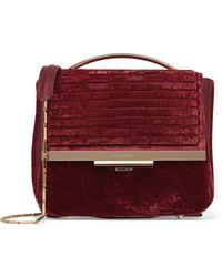 Eddie Borgo - Colt Tech Leather-trimmed Velvet Shoulder Bag - Lyst