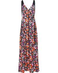 estampado con de largo encaje Vestido Goen y con encaje en flores j de crepé estampado qvxSnB4Rw