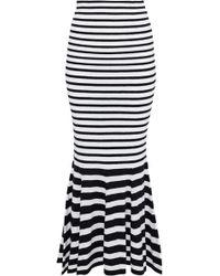 McQ - Fluted Striped Wool-blend Midi Skirt - Lyst