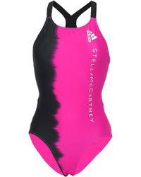 adidas By Stella McCartney Two-tone Mesh-paneled Swimsuit Fuchsia - Purple