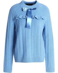 Needle & Thread - Woman Bow-embellished Cable-knit Merino Wool Jumper Light Blue - Lyst