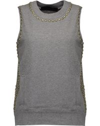Norma Kamali | Stud-embellished Stretch-cotton Top Dark Green Size M | Lyst