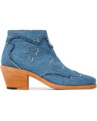 McQ - Frayed Denim Ankle Boots - Lyst
