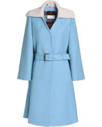 Maison Margiela - Belted Two-tone Wool Coat - Lyst