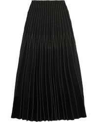 Alexander McQueen - Embroidered Pleated Silk Maxi Skirt - Lyst