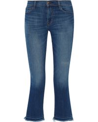 J Brand | Selena Mid-rise Cropped Frayed Bootcut Jeans | Lyst