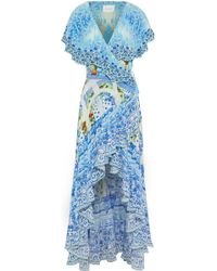 Camilla - A Night To Remember Crystal-embellished Printed Silk Wrap Dress - Lyst