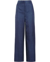 J.Crew - Woman Printed Twill Wide-leg Trousers Navy - Lyst