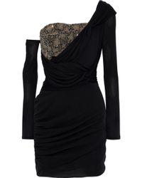 Roberto Cavalli - Woman One-shoulder Bead-embellished Ruched Silk Mini Dress  Black - 6fa8d4c9e