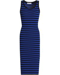 MICHAEL Michael Kors - Striped Ribbed-knit Dress Royal Blue - Lyst