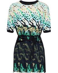Roberto Cavalli - Tie-front Knit-paneled Printed Jersey Top - Lyst