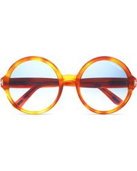 Tom Ford - Round-frame Tortoiseshell Acetate And Gold-tone Sunglasses - Lyst