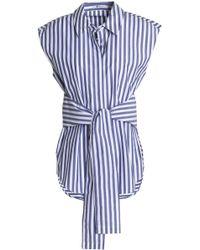 T By Alexander Wang - Tie-front Striped Cotton-poplin Shirt - Lyst