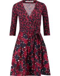 Diane von Furstenberg - Printed Wool And Silk-blend Jersey Mini Wrap Dress - Lyst