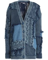 Stella McCartney - Patchwork Cable-knit Cotton And Denim Cardigan Mid Denim - Lyst