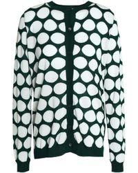Marni - Cutout Printed Stretch-knit Cardigan Forest Green - Lyst