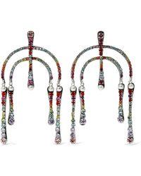 DANNIJO - Woman Kamil Silver-plated Crystal Earrings Multicolor - Lyst