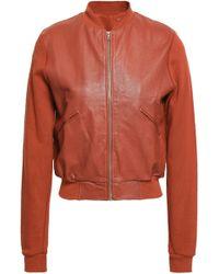 Majestic Filatures - Leather-paneled Cotton Bomber Jacket - Lyst