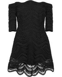 Lela Rose - Woman Off-the-shoulder Guipure Lace Top Black - Lyst