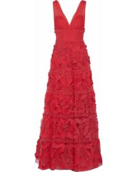 Marchesa notte - Woman Embellished Tulle Gown Coral - Lyst