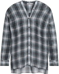 Vince - Checked Silk Crepe De Chine Shirt - Lyst