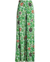 Stella Jean - Pleated Printed Crepe Wide-leg Trousers - Lyst