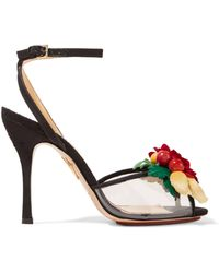 Charlotte Olympia - Tropicana Embellished Canvas And Pvc Sandals - Lyst