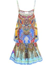 Camilla - Embellished Printed Silk Crepe De Chine Playsuit - Lyst