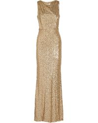 Badgley Mischka - Draped Sequined Tulle Gown - Lyst