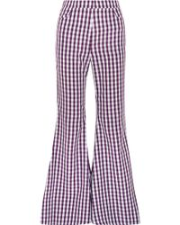House of Holland - Gingham Poplin Flared Trousers - Lyst