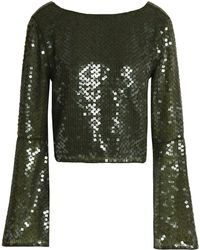 Rachel Gilbert - Inga Sequined Tulle Top Army Green - Lyst