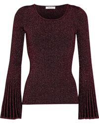 MILLY - Fluted Metallic Ribbed-knit Sweater - Lyst